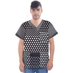Holes Sheet Grid Metal Men s V Neck Scrub Top