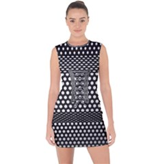 Holes Sheet Grid Metal Lace Up Front Bodycon Dress