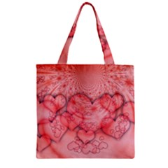 Heart Love Friendly Pattern Zipper Grocery Tote Bag