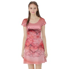 Heart Love Friendly Pattern Short Sleeve Skater Dress by Nexatart