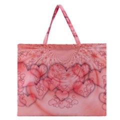 Heart Love Friendly Pattern Zipper Large Tote Bag