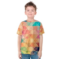 Texture Background Squares Tile Kids  Cotton Tee