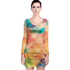 Texture Background Squares Tile Long Sleeve Bodycon Dress