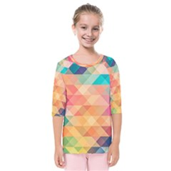 Texture Background Squares Tile Kids  Quarter Sleeve Raglan Tee