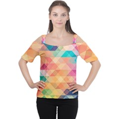 Texture Background Squares Tile Cutout Shoulder Tee