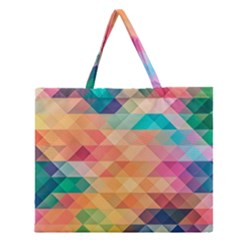 Texture Background Squares Tile Zipper Large Tote Bag