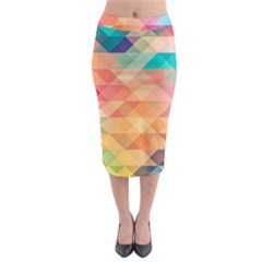 Texture Background Squares Tile Midi Pencil Skirt