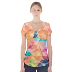 Texture Background Squares Tile Short Sleeve Front Detail Top
