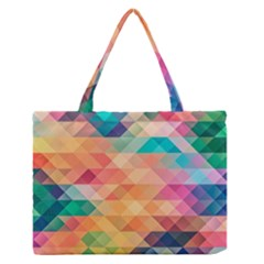 Texture Background Squares Tile Zipper Medium Tote Bag