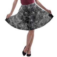 Dandelion Fibonacci Abstract Flower A Line Skater Skirt