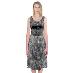 Dandelion Fibonacci Abstract Flower Midi Sleeveless Dress
