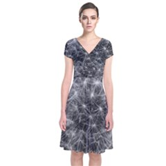 Dandelion Fibonacci Abstract Flower Short Sleeve Front Wrap Dress