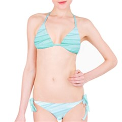 Blue Texture Seawall Ink Wall Painting Bikini Set