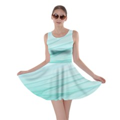 Blue Texture Seawall Ink Wall Painting Skater Dress