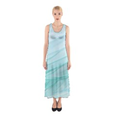 Blue Texture Seawall Ink Wall Painting Sleeveless Maxi Dress