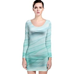 Blue Texture Seawall Ink Wall Painting Long Sleeve Bodycon Dress