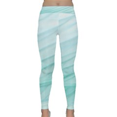 Blue Texture Seawall Ink Wall Painting Classic Yoga Leggings