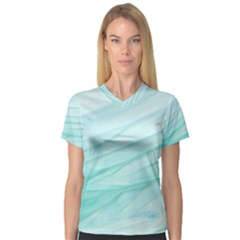 Blue Texture Seawall Ink Wall Painting V Neck Sport Mesh Tee