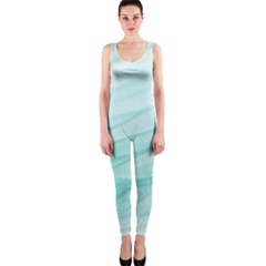 Blue Texture Seawall Ink Wall Painting One Piece Catsuit