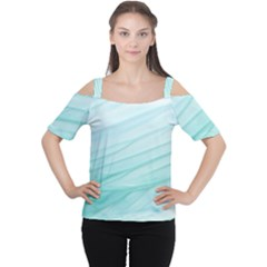 Blue Texture Seawall Ink Wall Painting Cutout Shoulder Tee