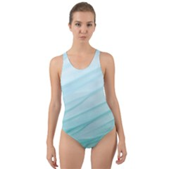 Blue Texture Seawall Ink Wall Painting Cut Out Back One Piece Swimsuit