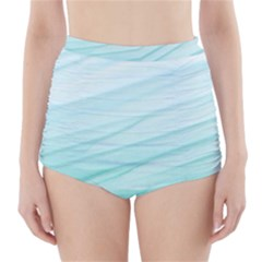 Blue Texture Seawall Ink Wall Painting High Waisted Bikini Bottoms