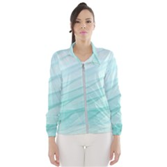 Blue Texture Seawall Ink Wall Painting Wind Breaker (women)