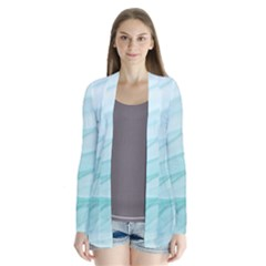 Blue Texture Seawall Ink Wall Painting Drape Collar Cardigan