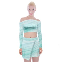 Blue Texture Seawall Ink Wall Painting Off Shoulder Top With Mini Skirt Set