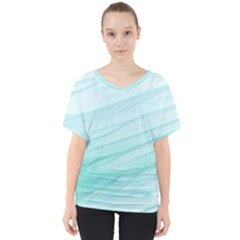 Blue Texture Seawall Ink Wall Painting V Neck Dolman Drape Top