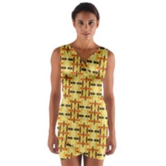 Ethnic Traditional Vintage Background Abstract Wrap Front Bodycon Dress