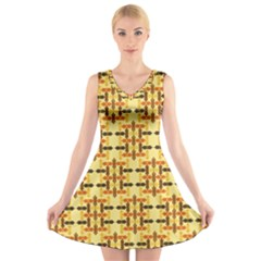 Ethnic Traditional Vintage Background Abstract V Neck Sleeveless Skater Dress