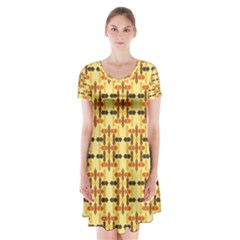 Ethnic Traditional Vintage Background Abstract Short Sleeve V Neck Flare Dress