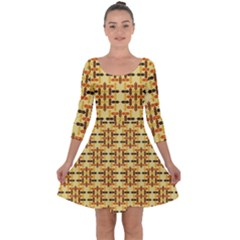 Ethnic Traditional Vintage Background Abstract Quarter Sleeve Skater Dress