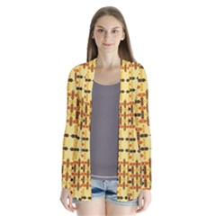 Ethnic Traditional Vintage Background Abstract Drape Collar Cardigan