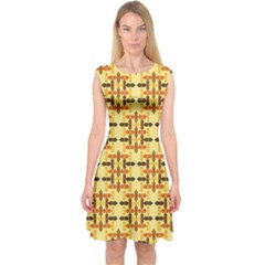 Ethnic Traditional Vintage Background Abstract Capsleeve Midi Dress
