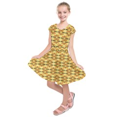 Ethnic Traditional Vintage Background Abstract Kids  Short Sleeve Dress