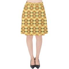 Ethnic Traditional Vintage Background Abstract Velvet High Waist Skirt