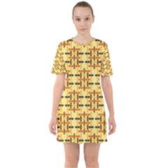 Ethnic Traditional Vintage Background Abstract Sixties Short Sleeve Mini Dress