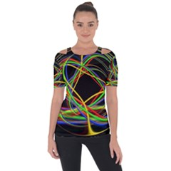 Ball Abstract Pattern Lines Short Sleeve Top