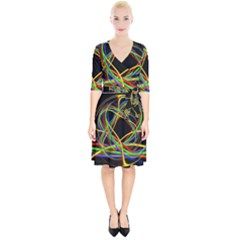 Ball Abstract Pattern Lines Wrap Up Cocktail Dress