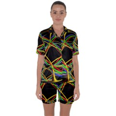 Ball Abstract Pattern Lines Satin Short Sleeve Pyjamas Set