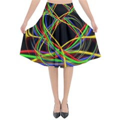 Ball Abstract Pattern Lines Flared Midi Skirt