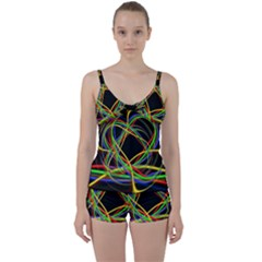 Ball Abstract Pattern Lines Tie Front Two Piece Tankini