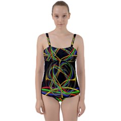 Ball Abstract Pattern Lines Twist Front Tankini Set