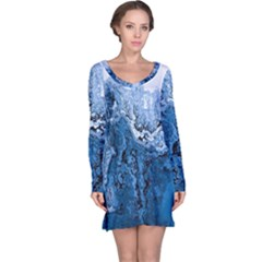 Water Nature Background Abstract Long Sleeve Nightdress