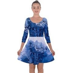 Water Nature Background Abstract Quarter Sleeve Skater Dress