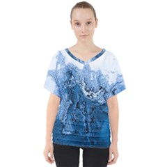 Water Nature Background Abstract V Neck Dolman Drape Top