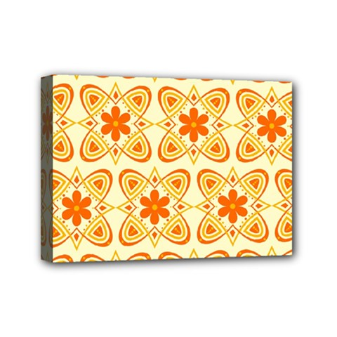 Background Floral Forms Flower Mini Canvas 7  X 5