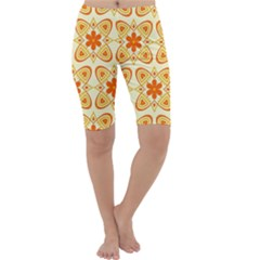 Background Floral Forms Flower Cropped Leggings